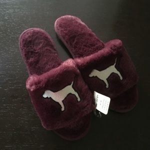 PINK Victoria's Secret purple furry dog slippers